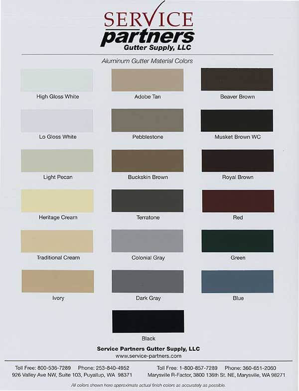 Color Charts Bellevue And Seattle Gutter Contractors