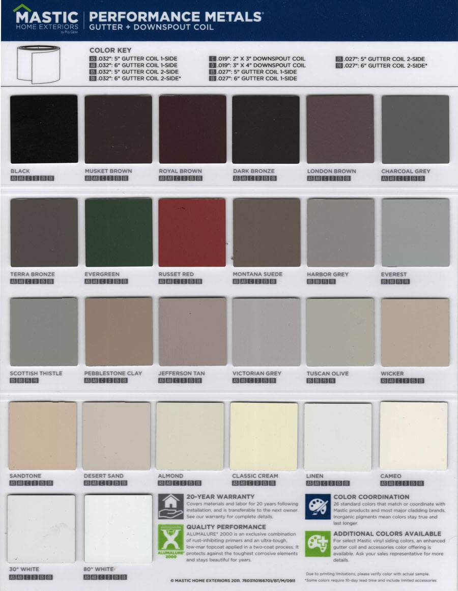 metal gutter colors